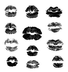 Lips track print set stamp of mouth collection vector