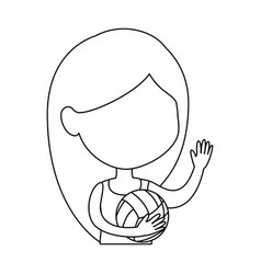 little girl playing volleyball character vector image