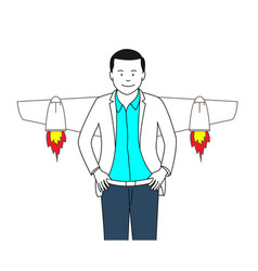 Man flying with rocket vector