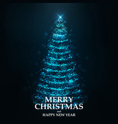 merry christmas card- christmas tree 2 vector image