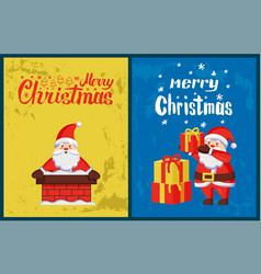 merry christmas inscription santa chimney vector image