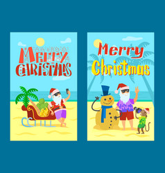 merry christmas santa claus making photo snowman vector image