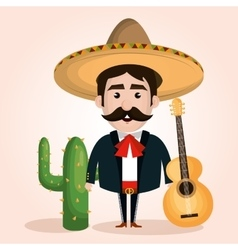 Mexican mariachi character classic vector