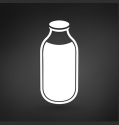 Milk or water bottle icon on black vector