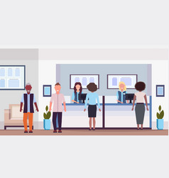 Mix race people at teller counter visitors vector