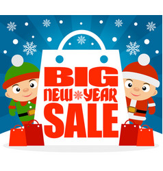 New year big sale background with kids vector
