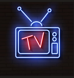 Old neon tv with antenna on brick wall vector