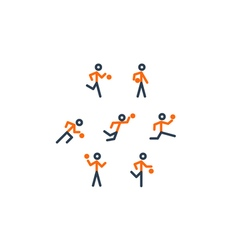 Orange-black basketball team icons vector