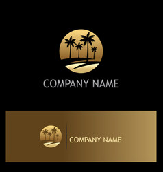 Palm tree icon tropic gold logo vector