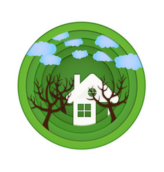 paper cut with home trees vector image