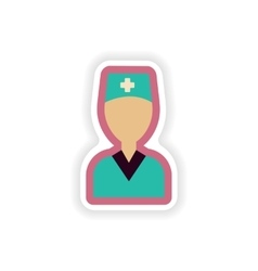 Paper sticker on white background medical worker vector