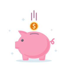 Piggy bank banking investment concept flat style vector