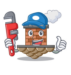 plumber brick chimney next the cartoon roof vector image