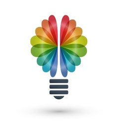 Rainbow brain and light bulb icon logo design vector