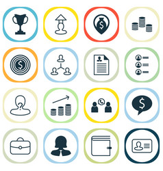 Resources icons set collection of personal badge vector