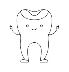 Restored tooth cartoon in monochrome silhouette vector
