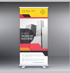 roll up banner presentation with red and yellow vector image