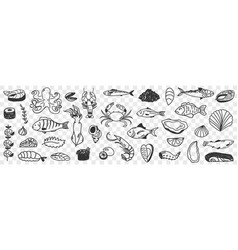 seafood and fish doodle set vector image