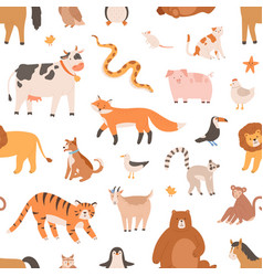 seamless pattern design with cute baanimals on vector image