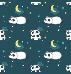 Seamless pattern with cute little panda vector