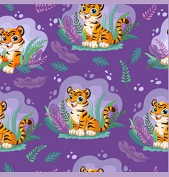 Seamless pattern with cute tigers in jungle vector