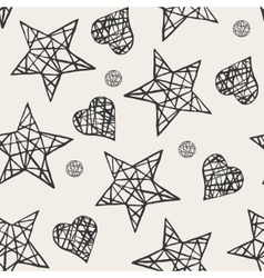 Seamless stars and hearts pattern vector