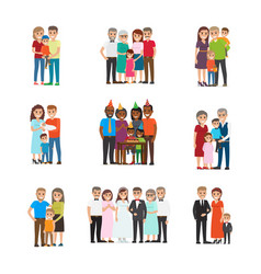 Set celebrating family holidays people vector