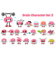 Set of Brain Cartoon Character Two vector