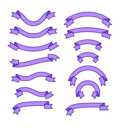 set of different ribbons purple tape banner vector image