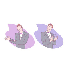 Sign language invitation to enter applause vector