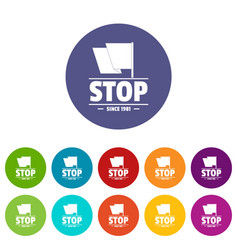 social protest stop icons set color vector image