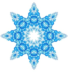 Star snowflake in gzhel style vector image