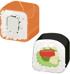 sushi with fish and vegetables vector image
