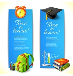 Time to learn vertical banners vector