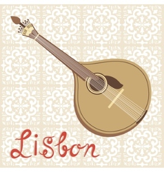 Tipical portuguese fado guitar over azulejo tiles vector image