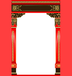 Traditional red wooden carved japanese chinese vector