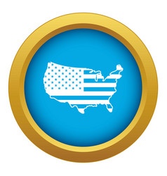 Usa map icon blue isolated vector