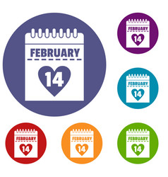 Valentines day calendar icons set vector