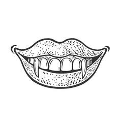 Vampire girl smile sketch vector