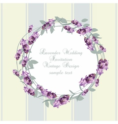 Vintage Lavender wreath card vector image