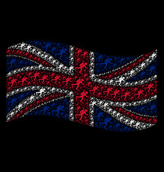 Waving british flag collage of scuba diver items vector