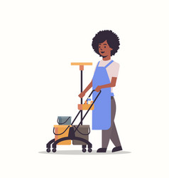 woman holding trolley cart with supplies african vector image
