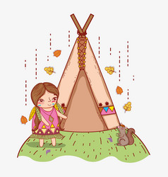 Woman indigenous with squirrel and camping tent vector