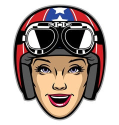 women rider wearing motorcycle helmet vector image
