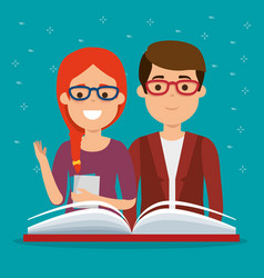 young couple students with book vector image