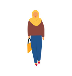 young woman walking with shopp bag vector image