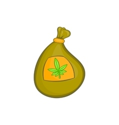 Bag with cannabis icon cartoon style vector image vector image