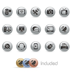 Communication Icons MetalRound Series vector image vector image