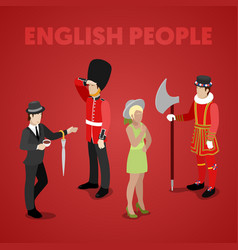 english people with guardsman isometric vector image vector image