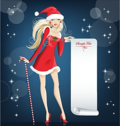 girl santa claus happy christmas and new year vector image